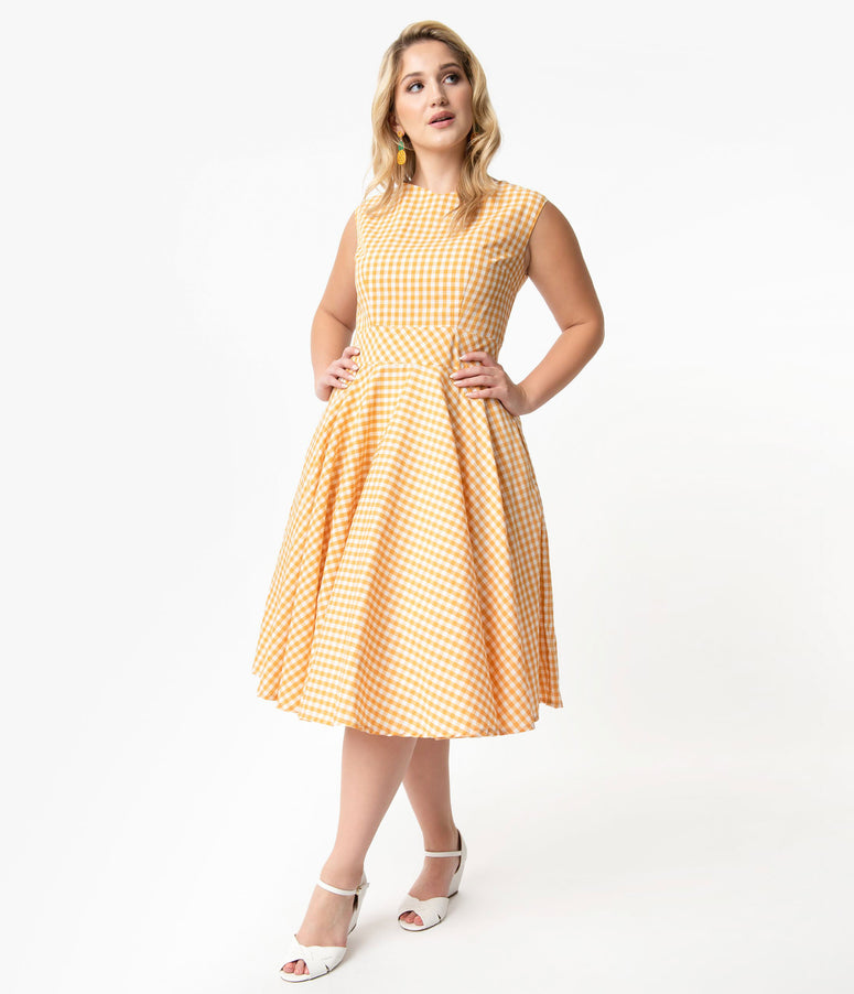 Plus Size Vintage Style Yellow & White Gingham Sleeveless Jenny Swing Dress