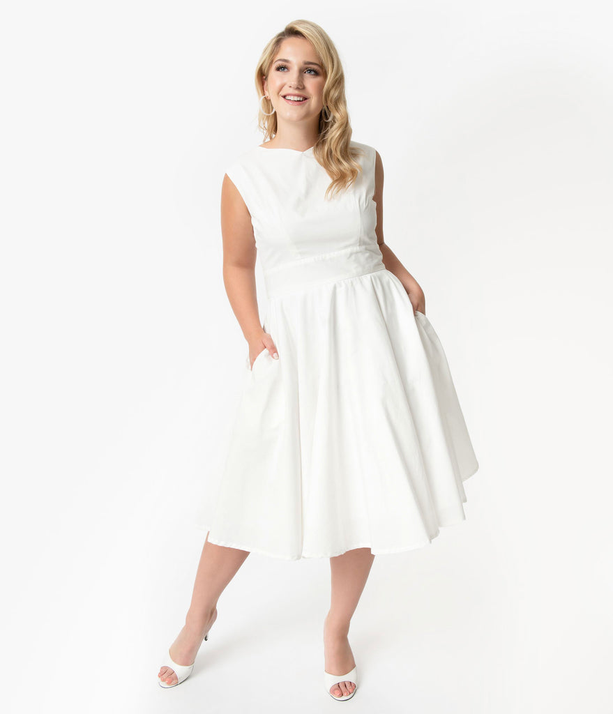 Plus Size Vintage Style Ivory Sleeveless Jenny Swing Dress