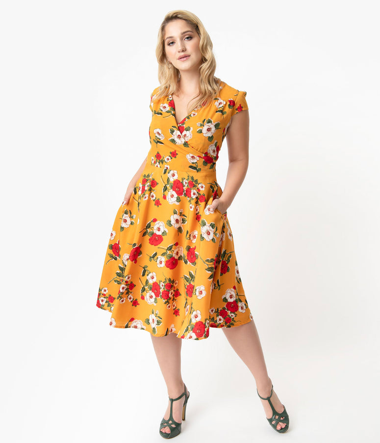 Plus Size Vintage Style Mustard Yellow & Floral Print Cap Sleeve Laurina Swing Dress