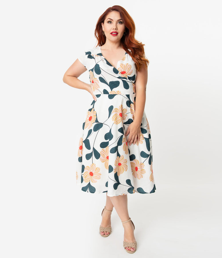 a74595b5 Plus Size Vintage Style White & Pink Floral Print Cap Sleeve Laurina Swing  Dress