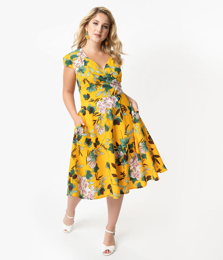32ad2c80d85 Plus Size Vintage Style Yellow   Ivory Floral Print Cap Sleeve Laurina  Swing Dress