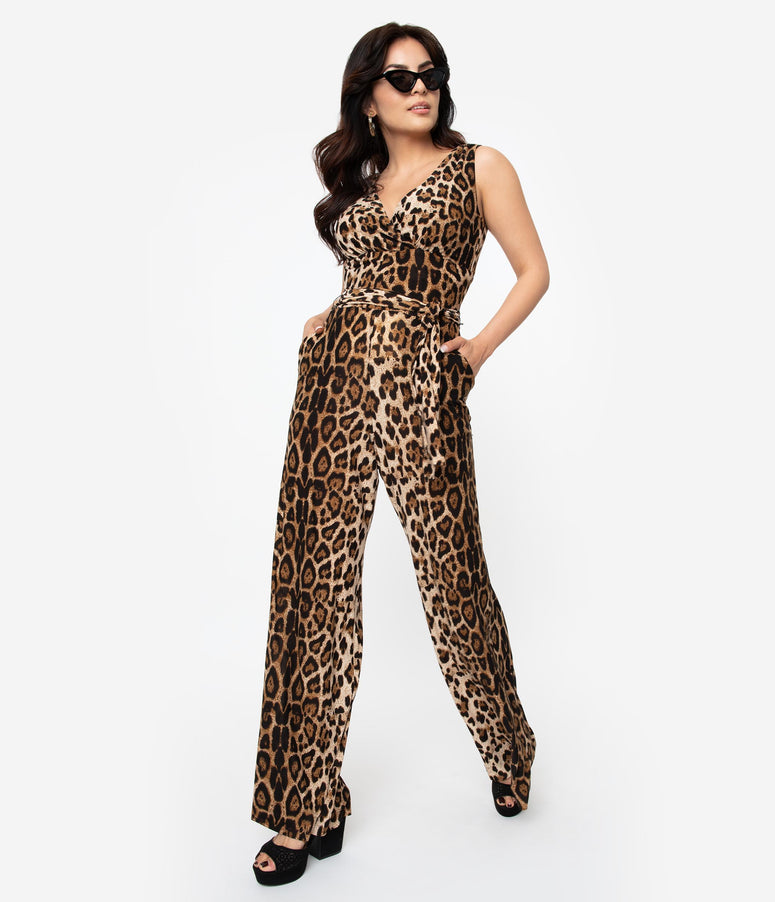 Unique Vintage Leopard Print Sleeveless Knit Montgomery Jumpsuit
