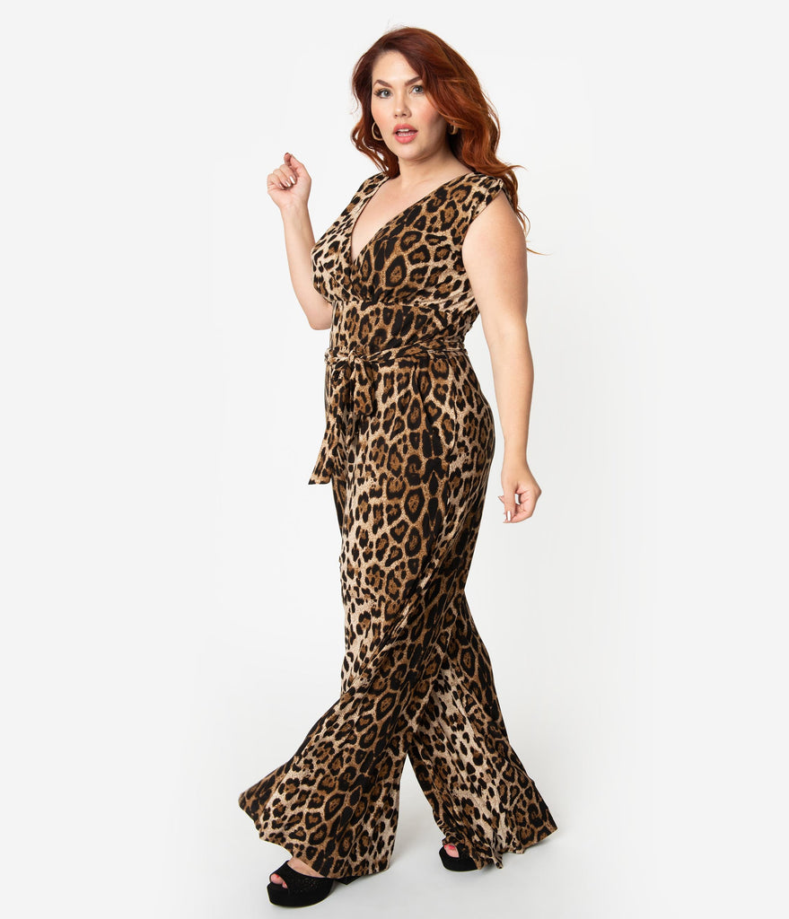 Unique Vintage Plus Size Leopard Print Sleeveless Knit Montgomery Jumpsuit