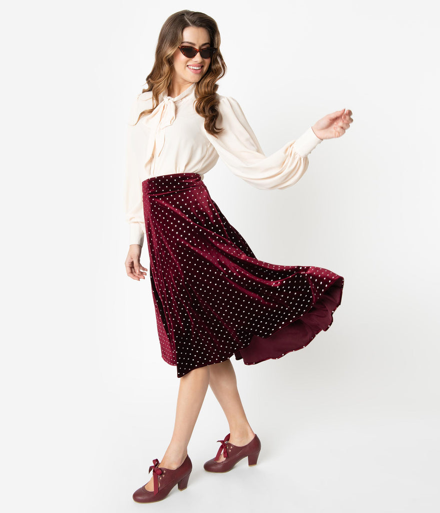 Unique Vintage Retro Merlot Red & Silver Polka Dot Velvet Vivien Swing Skirt