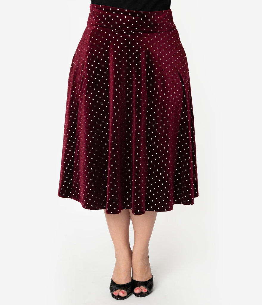 Unique Vintage Plus Size Retro Merlot Red & Silver Polka Dot Velvet High Waist Vivien Swing Skirt