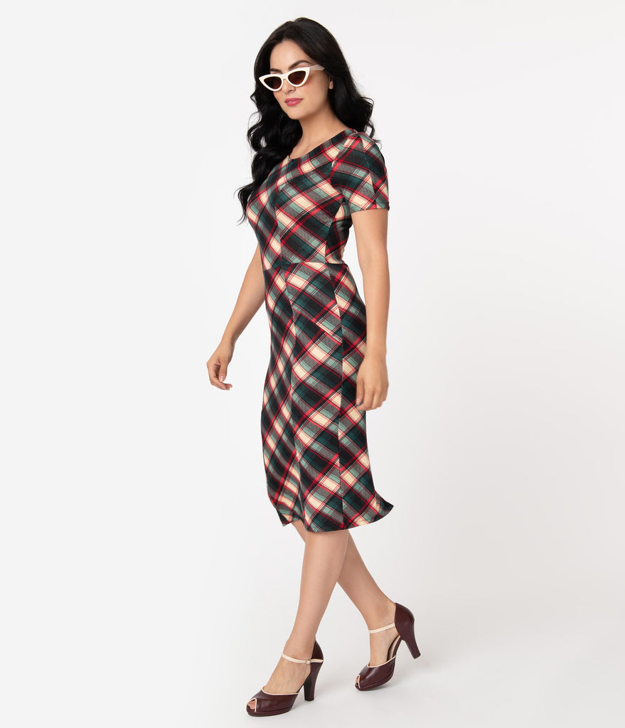 Unique Vintage 1960s Style Green & Red Plaid Short Sleeve Mod Wiggle Dress