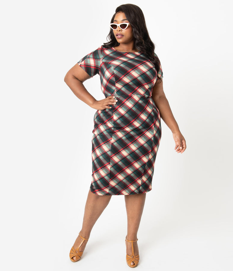 Unique Vintage Plus Size 1960s Style Green & Red Plaid Short Sleeve Mod Wiggle Dress
