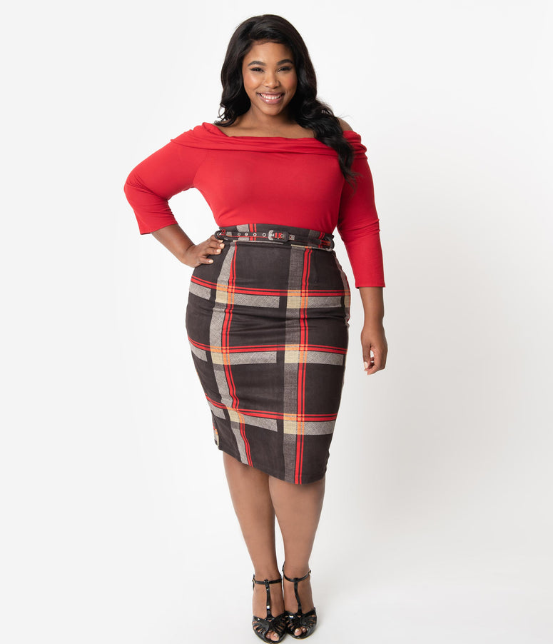 Unique Vintage Plus Size 1960s Black & Red Plaid High Waist Marcia Wiggle Skirt