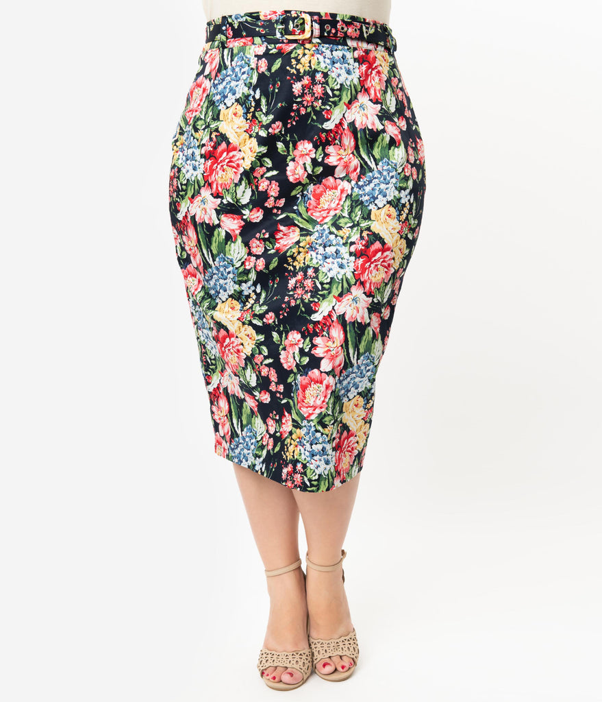 Unique Vintage Plus Size 1960s Multicolor Floral Print High Waist Marcia Wiggle Skirt