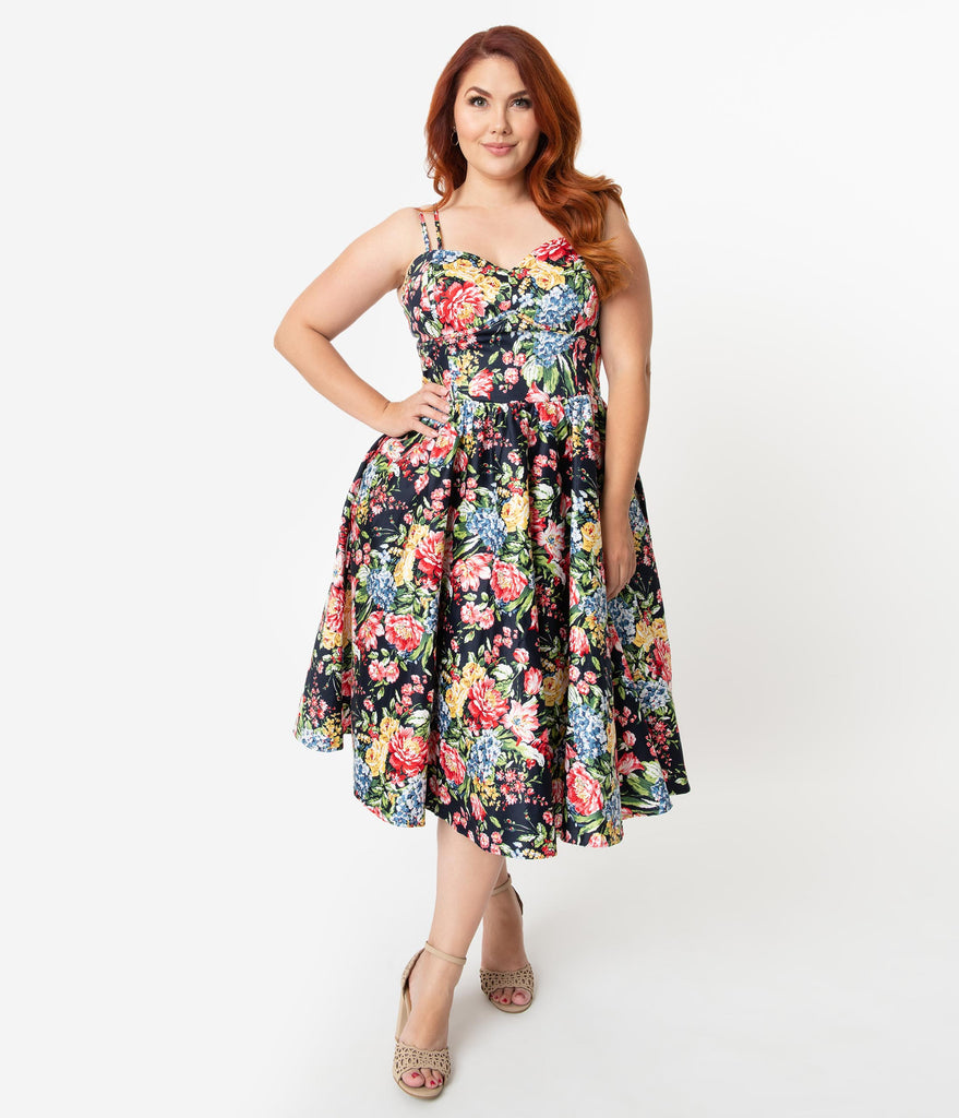 Unique Vintage Plus Size 1940s Style Pastel Floral Garden Print Cotton Luna  Swing Dress