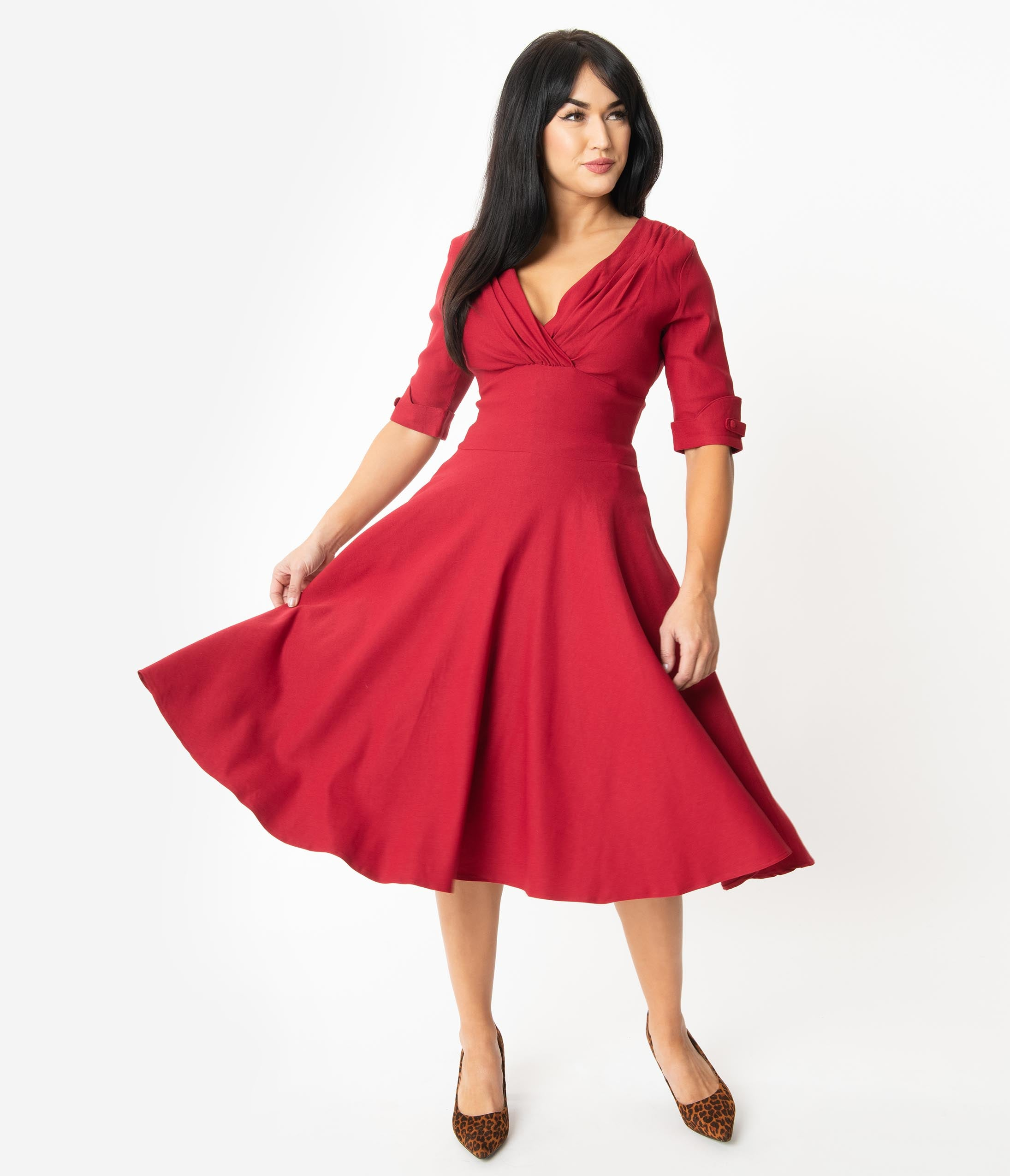 500 Vintage Style Dresses for Sale | Vintage Inspired Dresses Unique Vintage 1950S Merlot Red Delores Swing Dress With Sleeves $88.00 AT vintagedancer.com