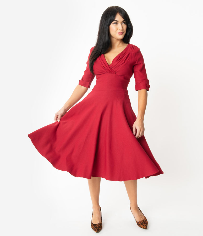 Unique Vintage 1950s Merlot Red Delores Swing Dress with Sleeves