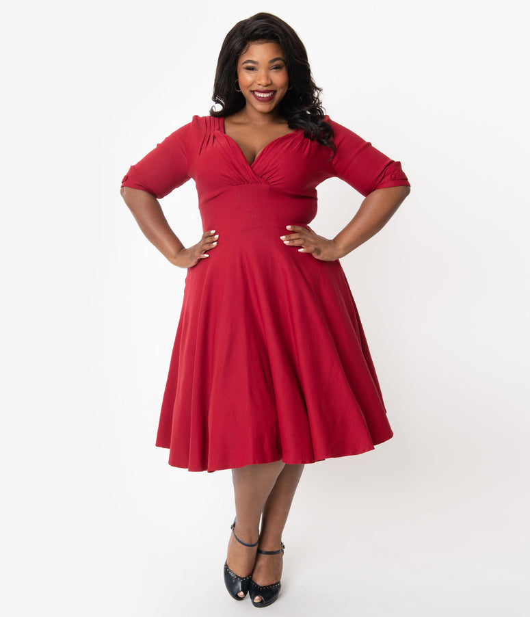 Unique Vintage Plus Size 1950s Merlot Red Delores Swing Dress with Sleeves