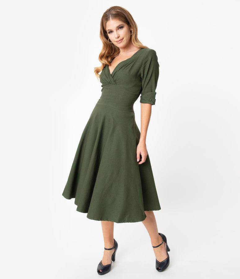 Unique Vintage 1950s Army Green Delores Swing Dress with Sleeves