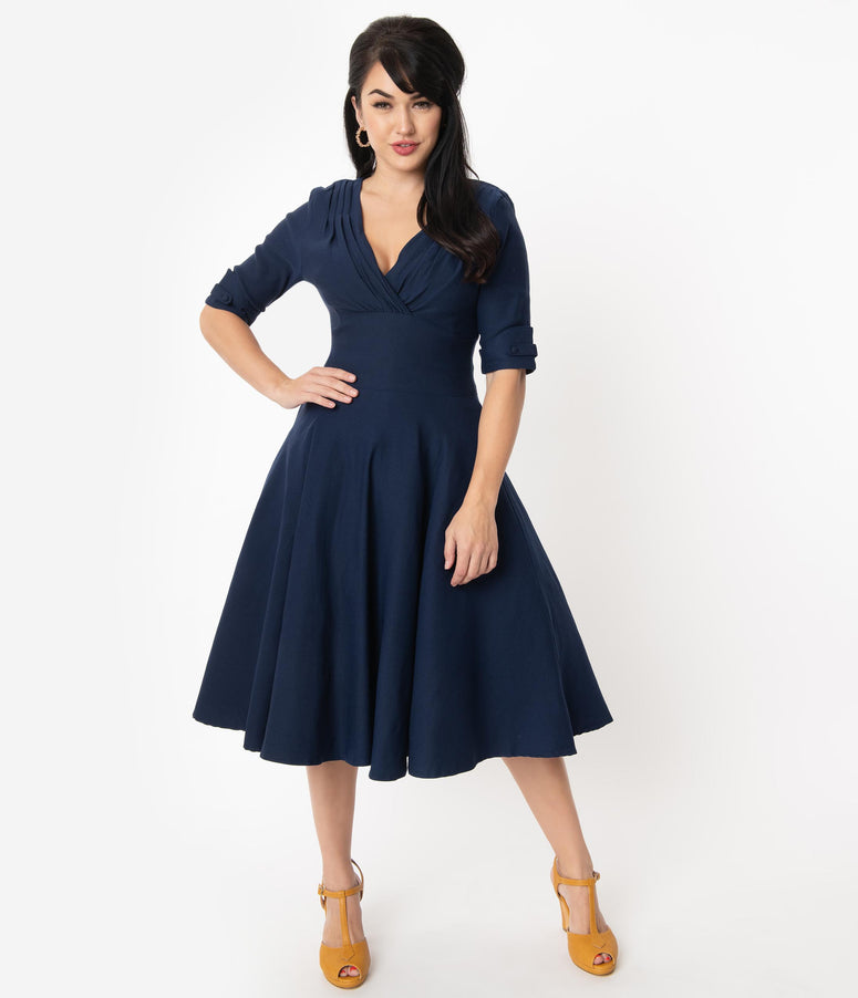 Unique Vintage 1950s Dark Navy Delores Swing Dress with Sleeves