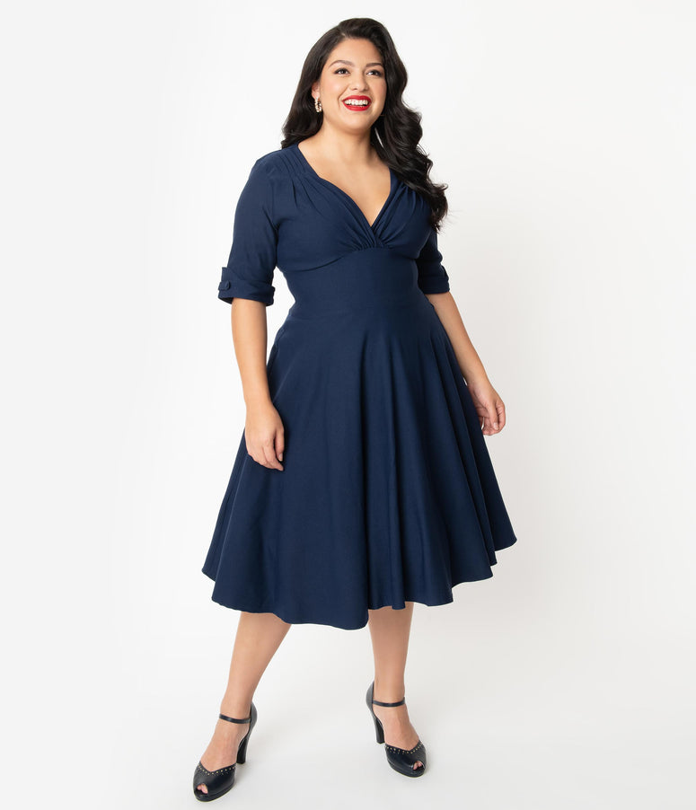 Unique Vintage Plus Size 1950s Dark Navy Delores Swing Dress with Sleeves