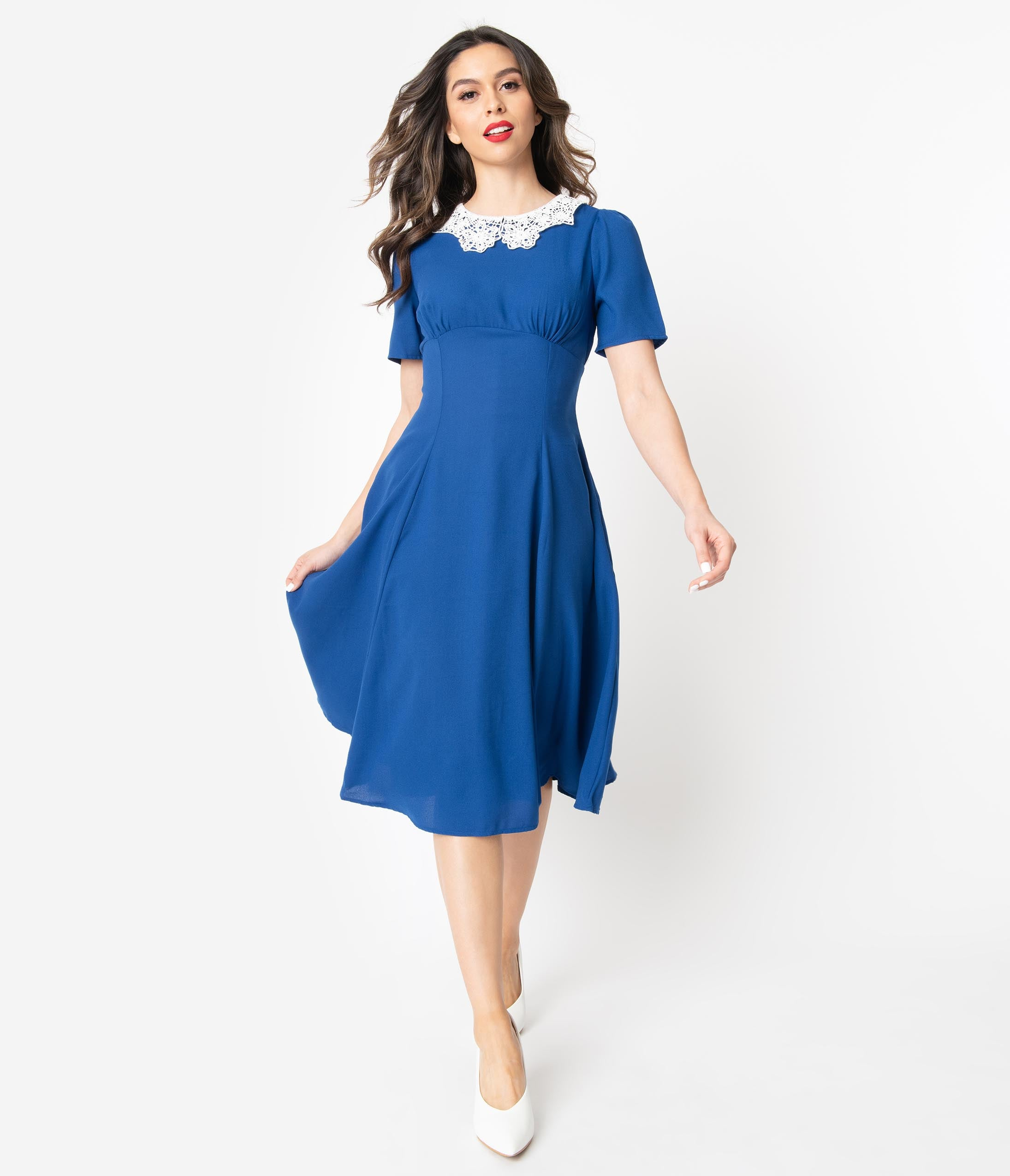 1930s Day Dresses, Afternoon Dresses History 1950S Royal Blue  Ivory Lace Collar Quita Swing Dress $68.00 AT vintagedancer.com