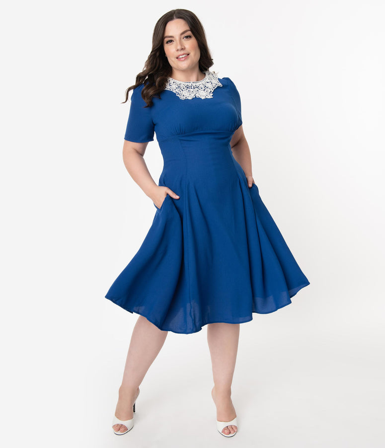 Plus Size 1950s Royal Blue & Ivory Lace Collar Quita Swing Dress