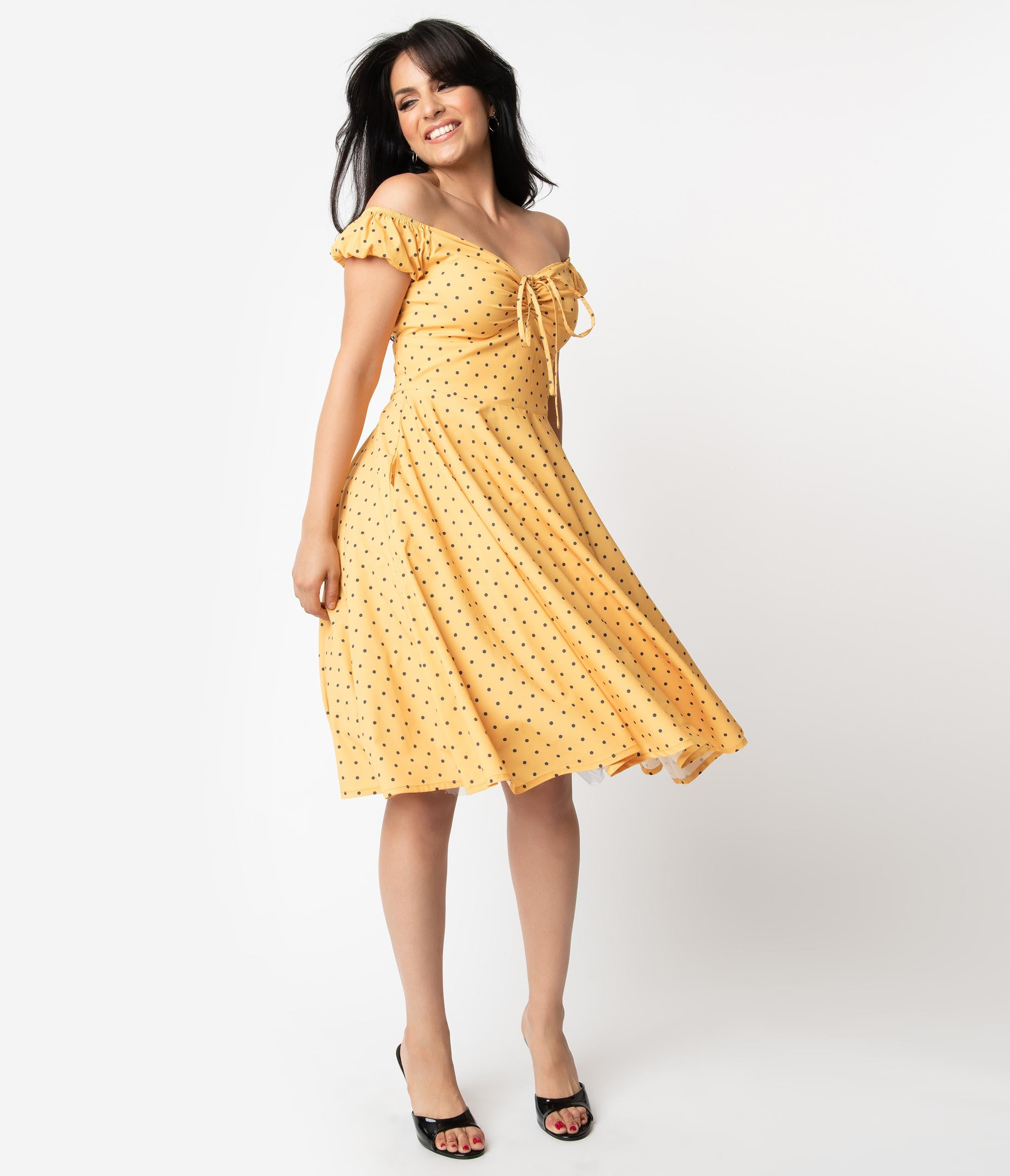 Fifties Dresses : 1950s Style Swing to Wiggle Dresses Mustard Yellow  Black Polka Dot Off Shoulder Amerie Swing Dress $68.00 AT vintagedancer.com