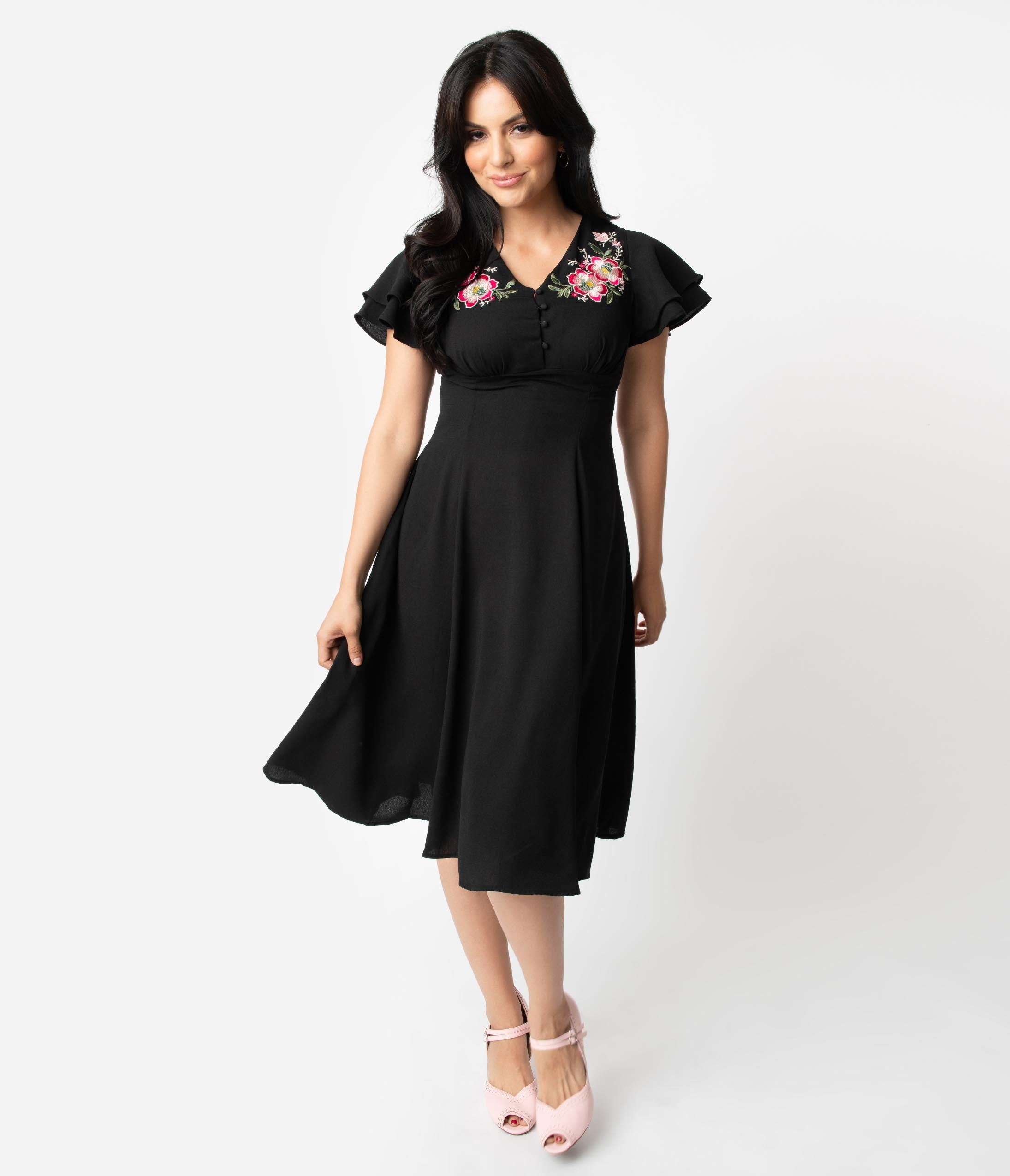 1940s Clothing 1940S Style Black  Pink Floral Embroidery Irena Swing Dress $68.00 AT vintagedancer.com