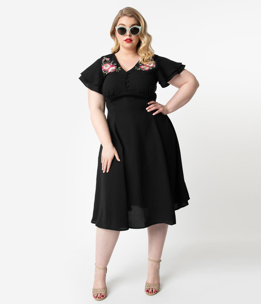 Plus Size 1940s Style Black & Pink Floral Embroidery Irena Swing Dress