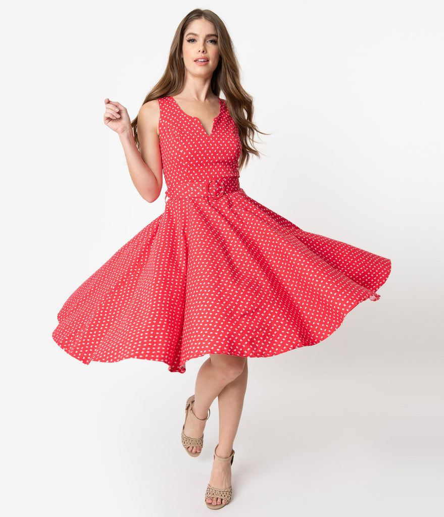 0c5c69ecaa56 1950s Style Red & Ivory Ditsy Floral Print Sleeveless Timmy Swing Dres –  Unique Vintage