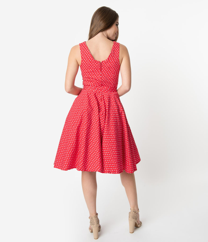 b84c924a1845 ... 1950s Style Red & Ivory Ditsy Floral Print Sleeveless Timmy Swing Dress  ...