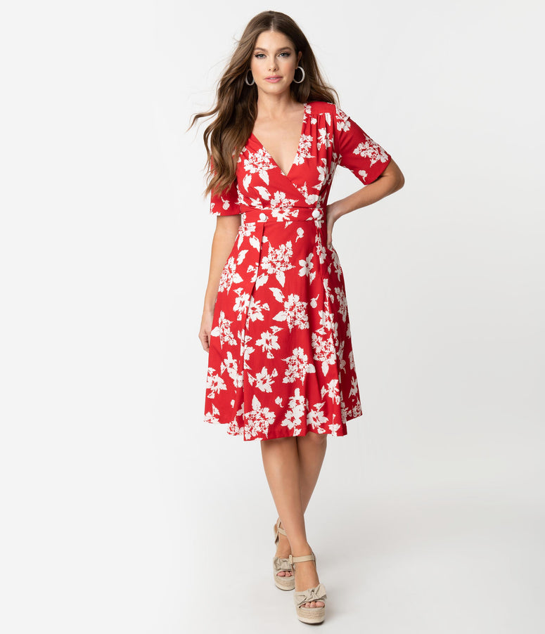 Retro Style Red & White Floral Print Molly Swing Dress