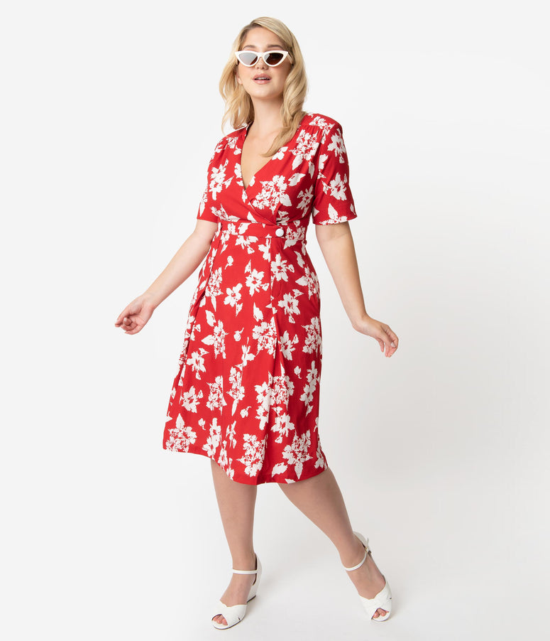 Retro Style Plus Size Red & White Floral Print Molly Swing Dress