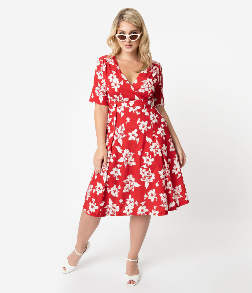 f31db218cfb Retro Style Plus Size Red & White Floral Print Molly Swing Dress