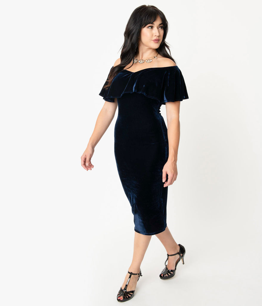 Unique Vintage Navy Blue Velvet Off Shoulder Sophia Wiggle Dress