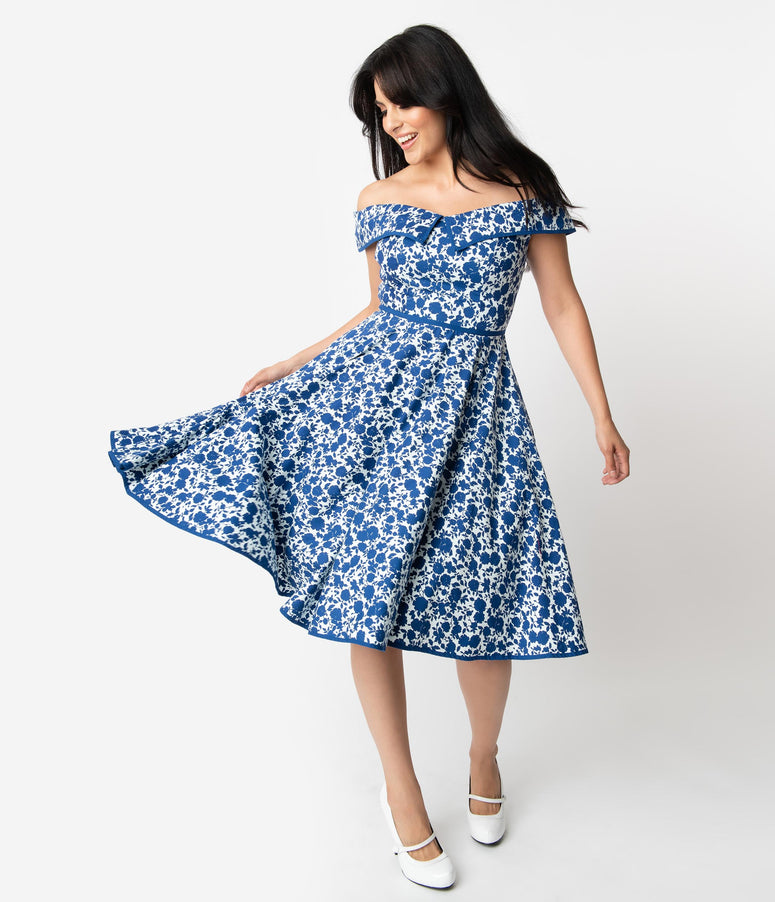 1950s Style White & Blue Floral Print Off Shoulder Nams Swing Dress
