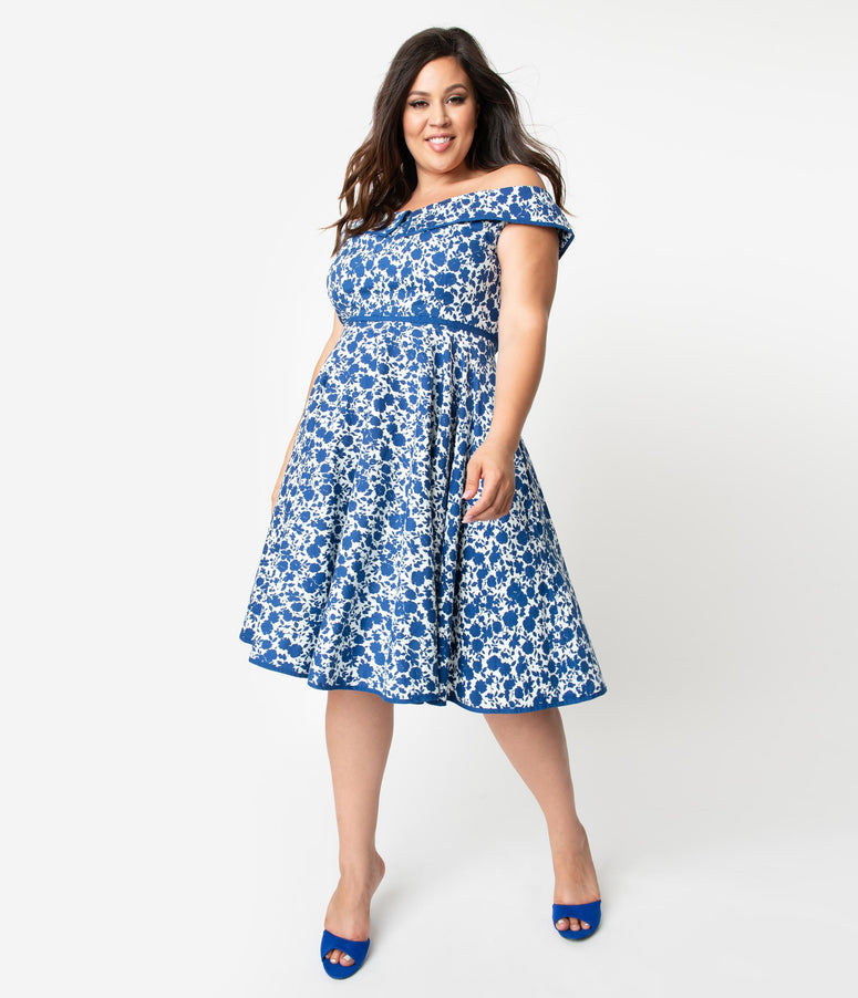 28ef381dc10 Plus Size 1950s Style White & Blue Floral Print Off Shoulder Nams Swing  Dress