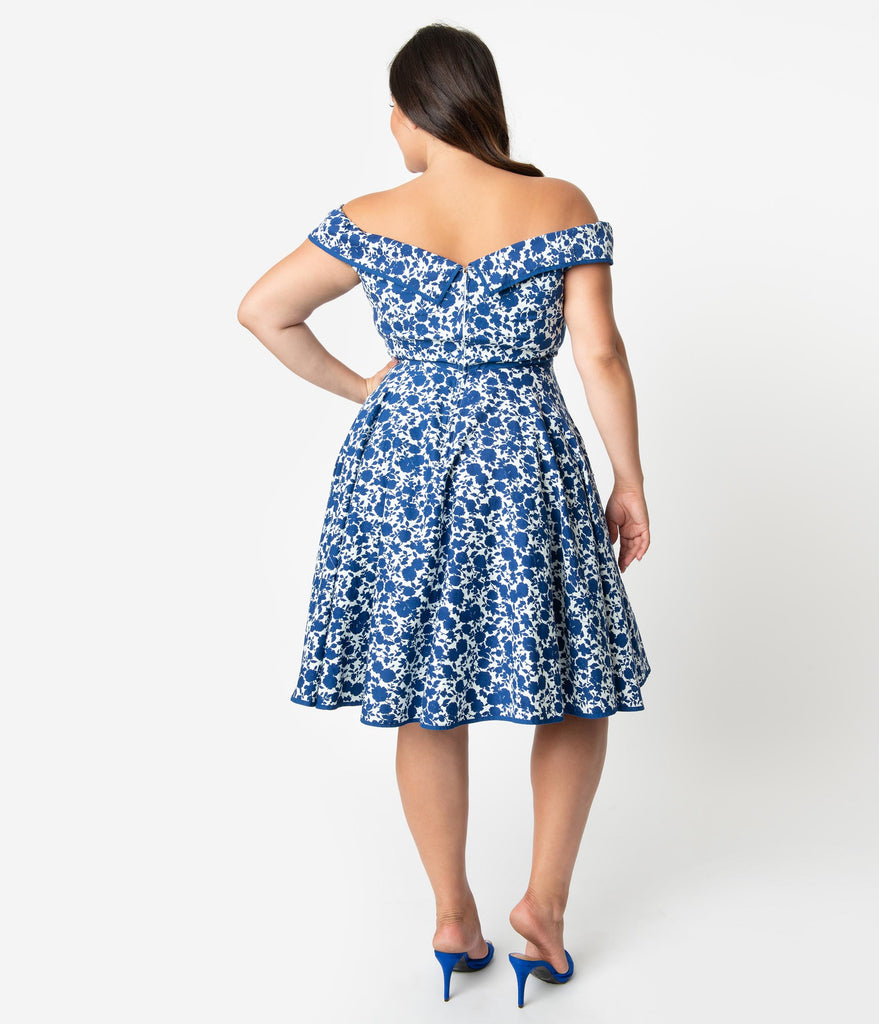 Plus Size 1950s Style White & Blue Floral Print Off Shoulder Nams Swing Dress