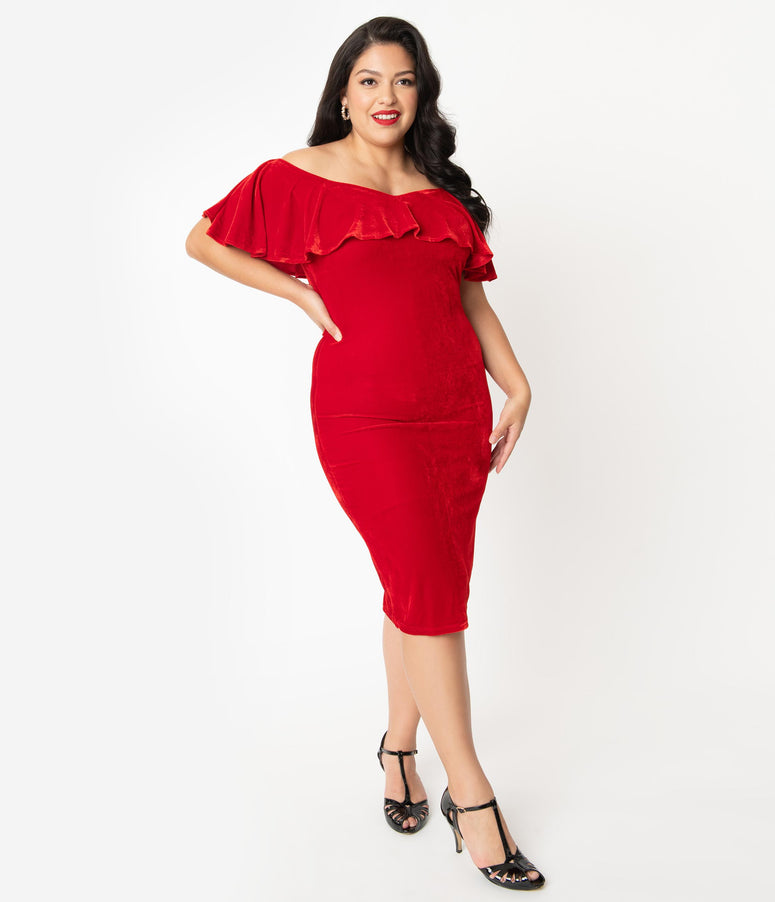 Unique Vintage Plus Size Red Velvet Off Shoulder Sophia Wiggle Dress