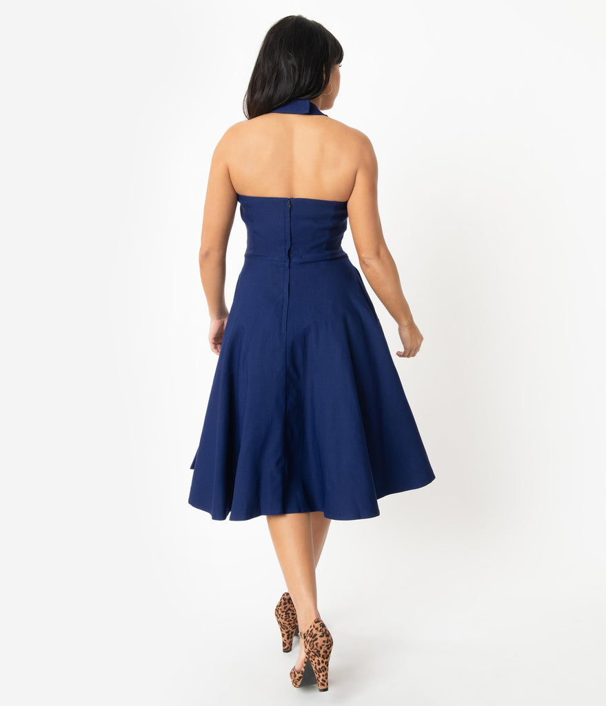 Unique Vintage 1950s Navy Blue Halter Rita Flare Dress