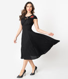 1940s Style Black & Red Rose Embroidered Juliana Swing Dress