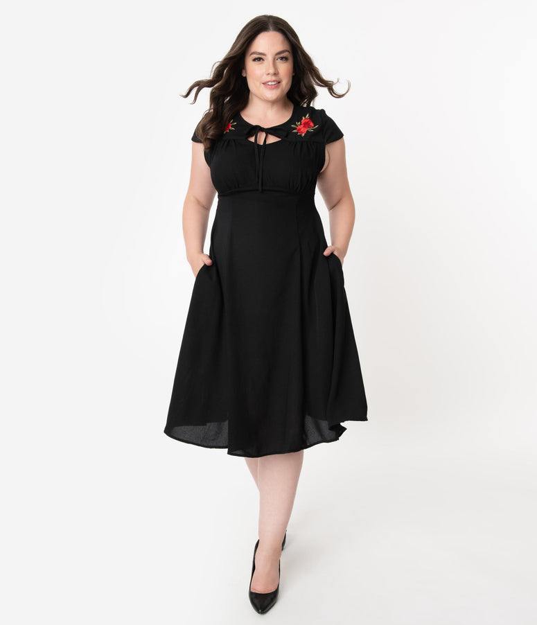Plus Size 1940s Style Black & Red Rose Embroidered Juliana Swing Dress
