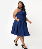 Unique Vintage Plus Size 1950s Navy Blue Halter Rita Flare Dress