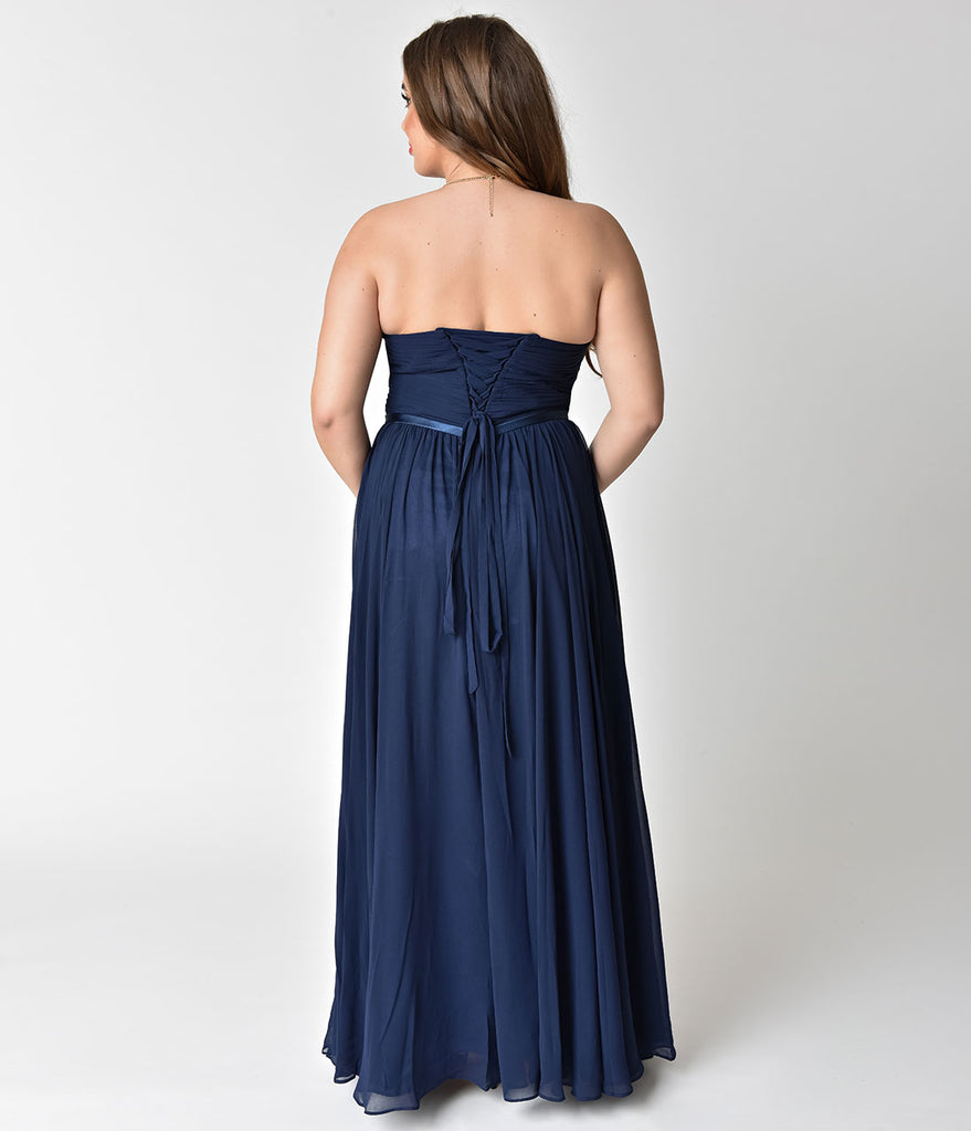89eed43a6da7 Navy Chiffon Strapless Sweetheart Corset Long Gown – Unique Vintage