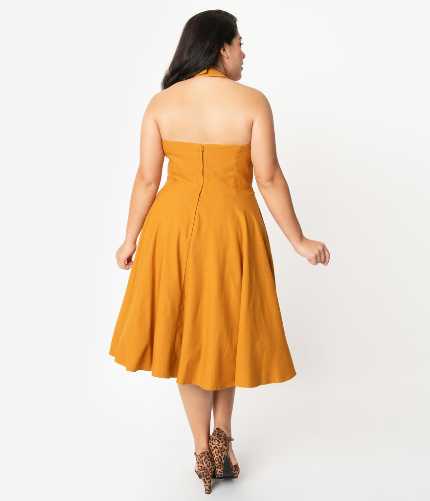 Unique Vintage Plus Size 1950s Mustard Halter Rita Flare Dress