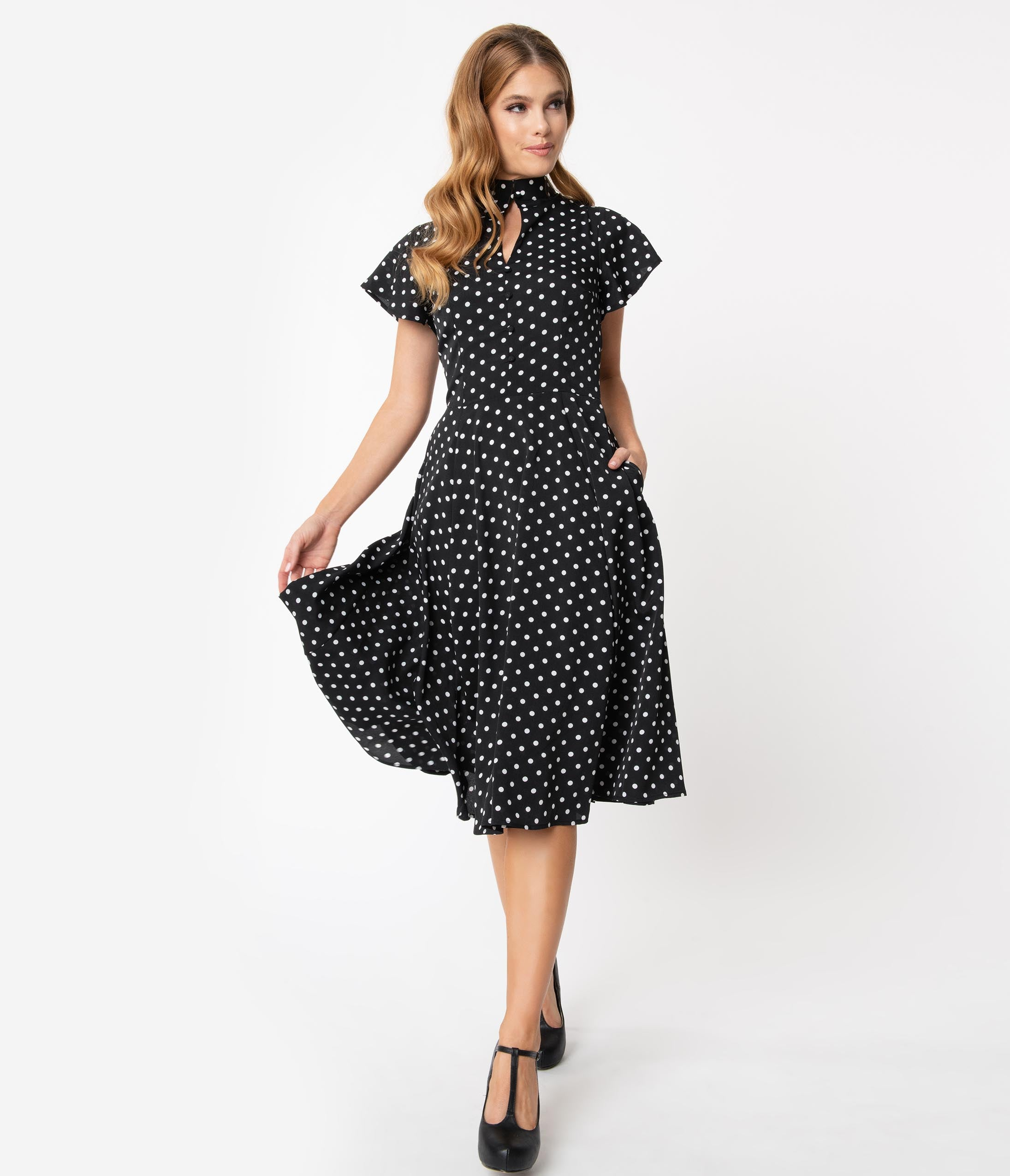 500 Vintage Style Dresses for Sale | Vintage Inspired Dresses Unique Vintage 1950S Black  White Polka Dot Baltimore Swing Dress $98.00 AT vintagedancer.com