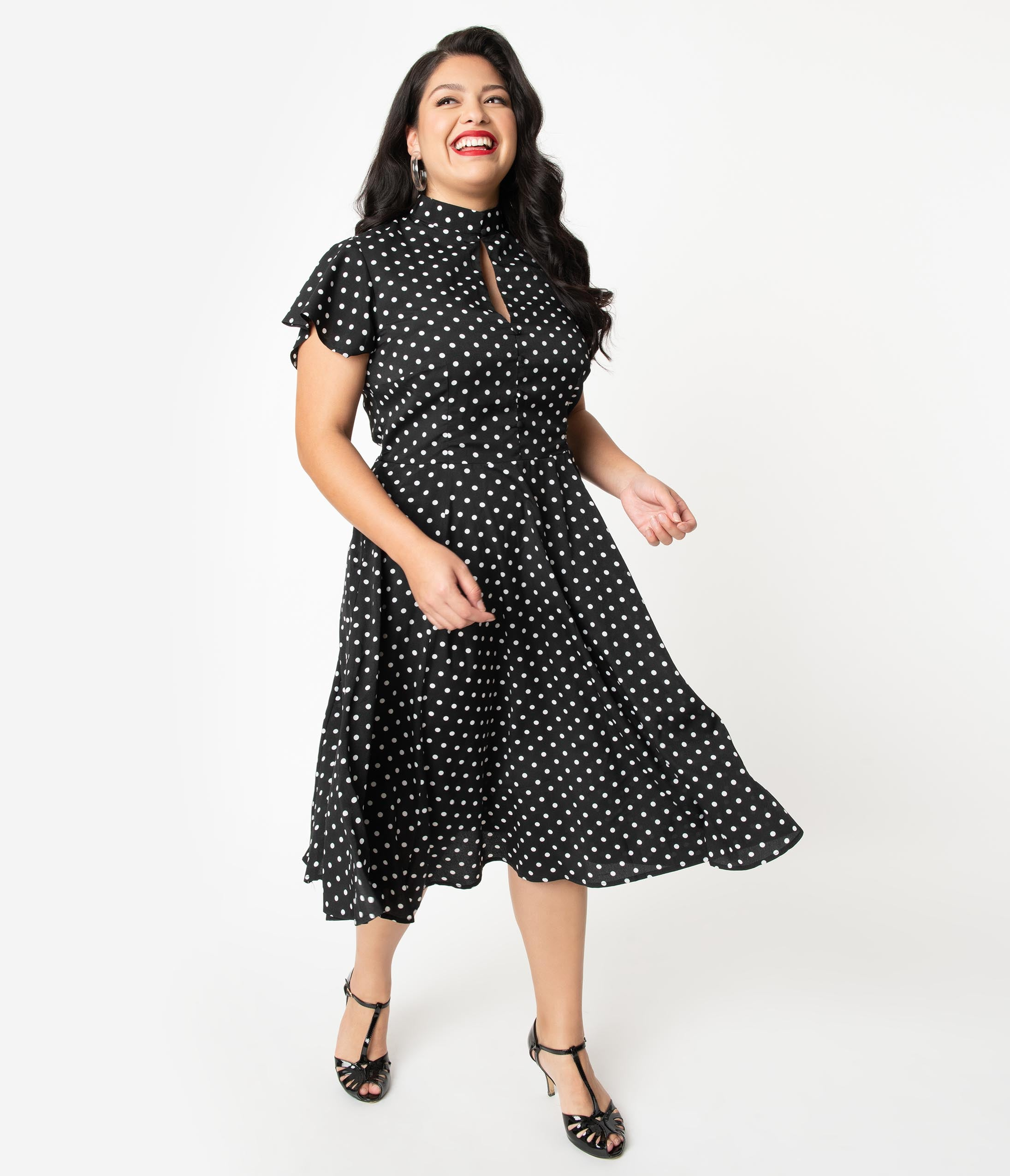 1940s Plus Size Dresses | Swing Dress, Tea Dress Unique Vintage Plus Size 1950S Black  White Polka Dot Baltimore Swing Dress $98.00 AT vintagedancer.com