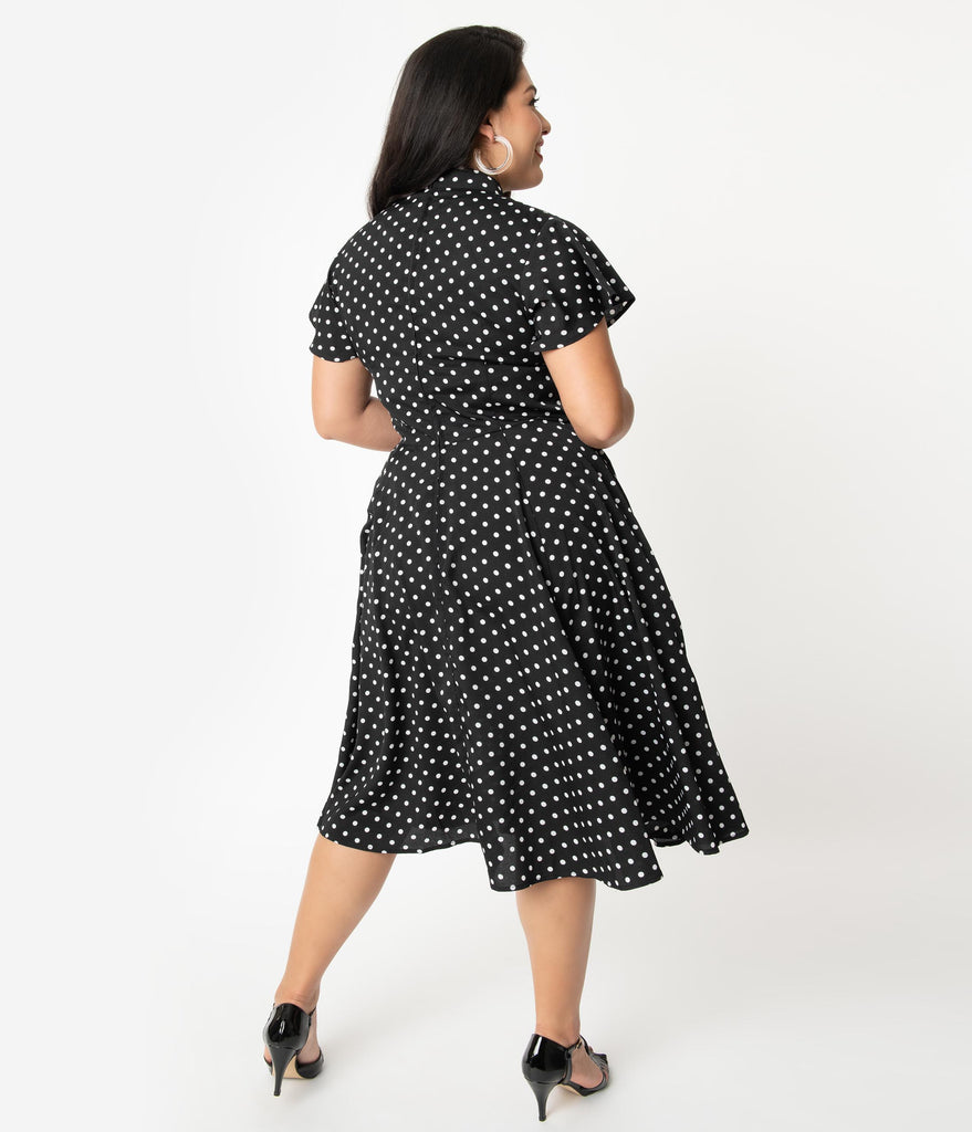 Unique Vintage Plus Size 1950s Black & White Polka Dot Baltimore Swing Dress