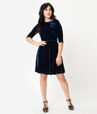 Unique Vintage Navy Blue Velvet Stephanie Fit & Flare Dress