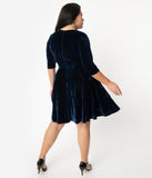 Unique Vintage Plus Size Navy Blue Velvet Stephanie Fit & Flare Dress