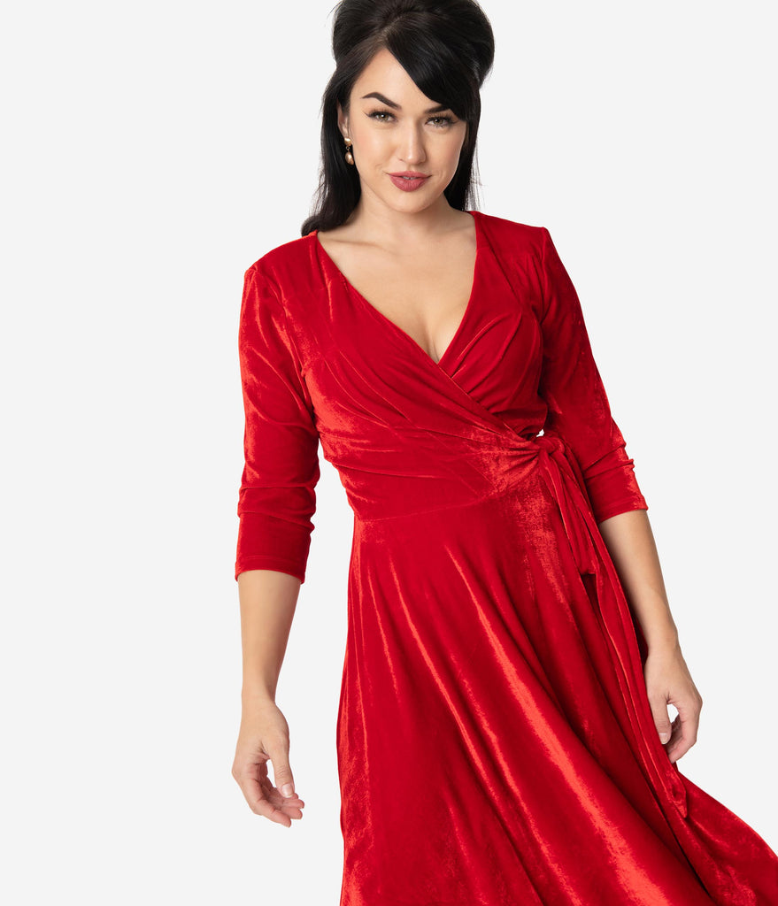 Unique Vintage 1940s Red Velvet Kelsie Wrap Dress