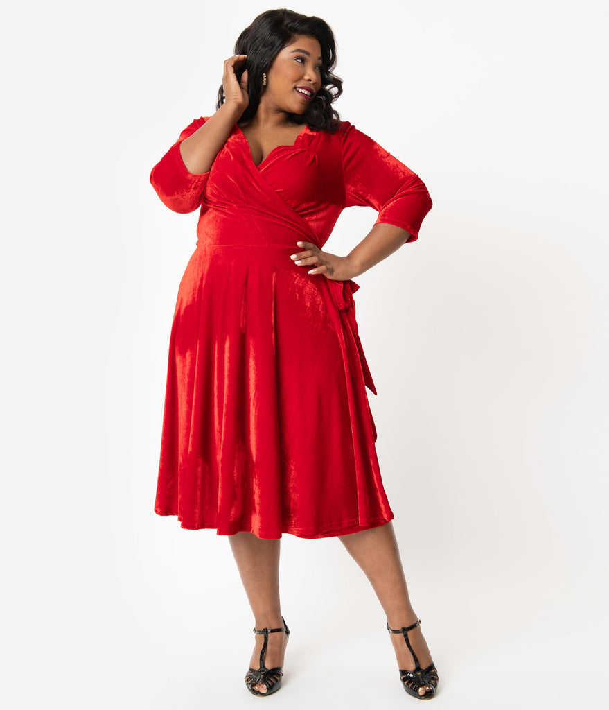 Unique Vintage Plus Size 1940s Red Velvet Kelsie Wrap Dress
