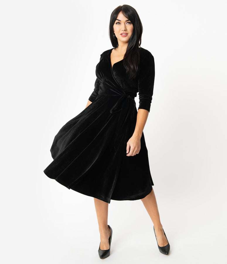 Unique Vintage 1940s Style Black Velvet Kelsie Wrap Dress