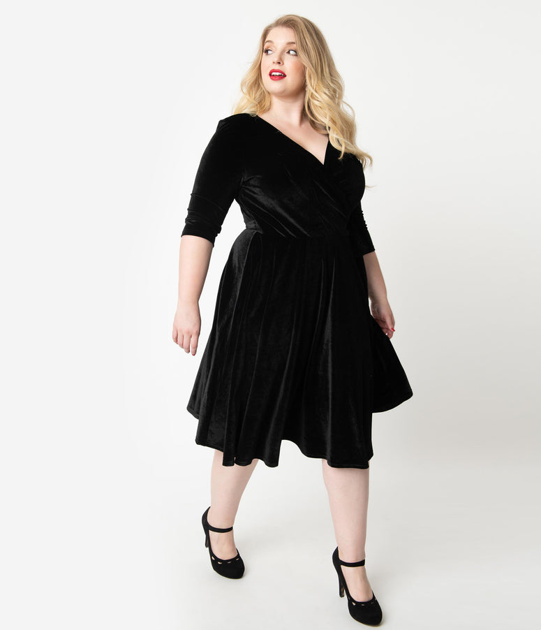 Unique Vintage Plus Size 1940s Style Black Velvet Kelsie Wrap Dress